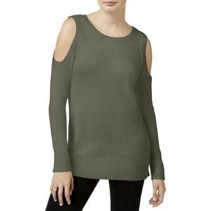Kensie Womens Green Cold-Shoulder Sweater